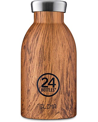 24Bottles Clima Thermal Bottle for Kids,  330 ml - Sequoia Wood Metal Bottles
