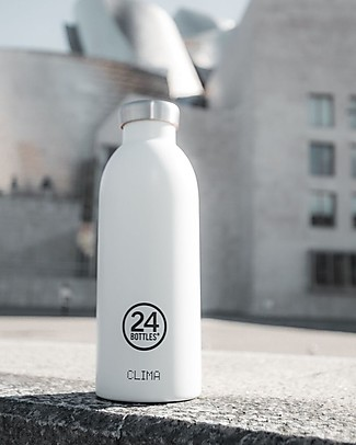 24Bottles Thermal Stainless Steel Clima Bottle, 500 ml - Ice White Metal Bottles