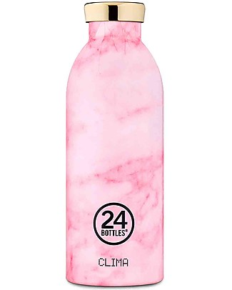 24Bottles Thermal Stainless Steel Clima Bottle, 500 ml - Pink Marble Metal Bottles
