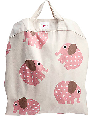 3 Sprouts 2-in-1 Play Mat Bag 100% Cotton Canvas, Elephant - 112 cm diameter Toy Storage Boxes