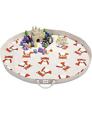 3 Sprouts 2-in-1 Play Mat Bag 100% Cotton Canvas, Fox - 112 cm diameter Playmats