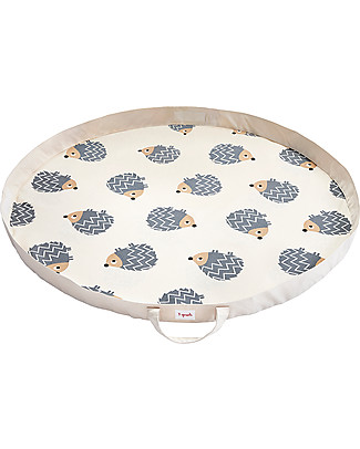 3 Sprouts 2-in-1 Play Mat Bag 100% Cotton Canvas, Hedgehog – 112 cm diameter Toy Storage Boxes