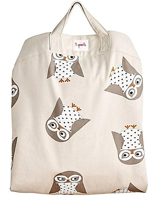 3 Sprouts 2-in-1 Play Mat Bag 100% Cotton Canvas, Owl - 112 cm diameter Toy Storage Boxes