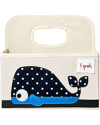 3 Sprouts Diaper Caddy - Blue Whale - Cotton canvas Changing Tables