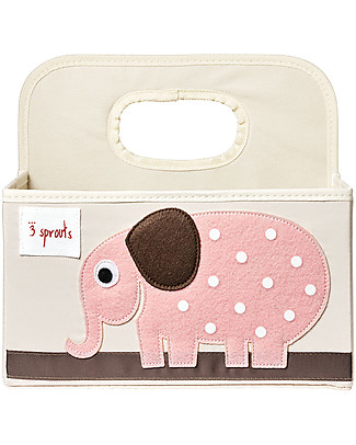 3 Sprouts Diaper Caddy - Pink Elephant - Cotton canvas Changing Tables