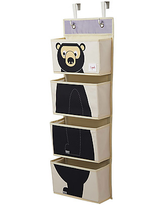 3 Sprouts Hanging Wall Organizer, 4 Pockets - Bear Black Toy Storage Boxes