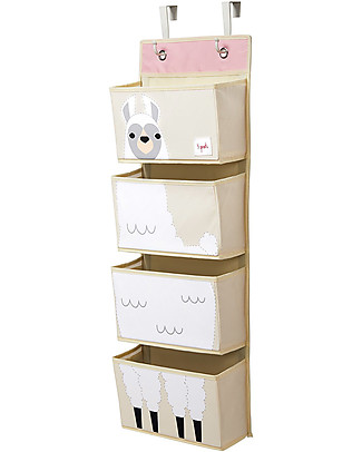 3 Sprouts Hanging Wall Organizer, 4 Pockets - White Llama Toy Storage Boxes
