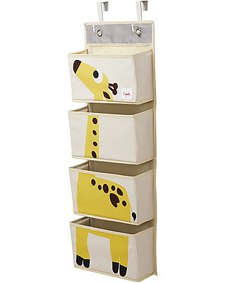 3 Sprouts Hanging Wall Organizer, 4 Pockets - Yellow Giraffe Toy Storage Boxes