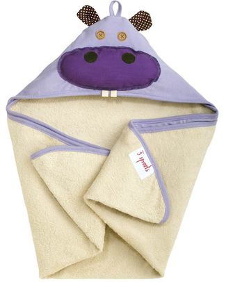 3 Sprouts Hippo Hooded Towel - Spa Grade Natural Cotton Terry Towelling inside! Towels And Flannels
