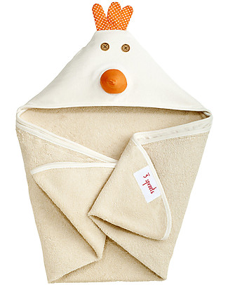 3 Sprouts Hooded Towel - Hen - Spa Grade Natural Cotton Terry Toweling inside! null