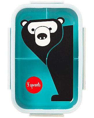 3 Sprouts Lunch Bento Box, 3 Compartments - Bear Teal Snack and Formula Containers