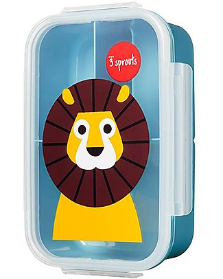 3 Sprouts Lunch Bento Box, 3 Compartments - Blue Lion Snack and Formula Containers