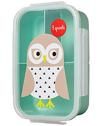 3 Sprouts Lunch Bento Box, 3 Compartments - Owl Mint Snack and Formula Containers
