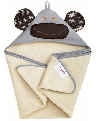 3 Sprouts Monkey Hooded Towel, Grey - Spa Grade Natural Cotton Terry Towelling inside! Towels And Flannels