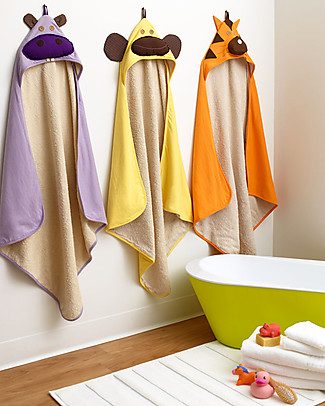 3 Sprouts Monkey Hooded Towel, Yellow - Spa Grade Natural Cotton Terry Towelling inside! Towels And Flannels