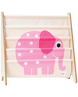 3 Sprouts Montessori Front Facing Book Rack - Pink Elephant Bookcases