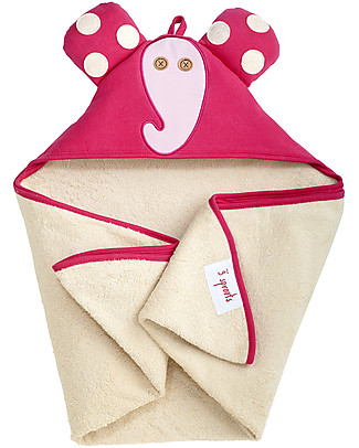 3 Sprouts Pink Elefant Hooded Towel - Spa Grade Natural Cotton Terry Towelling inside! Towels And Flannels