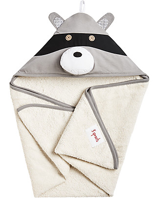 3 Sprouts Raccoon Hooded Towel - Spa Grade Natural Cotton Terry Towelling inside! Towels And Flannels