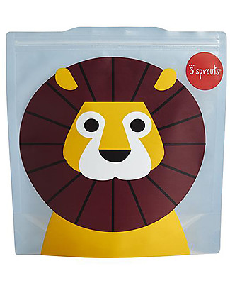 3 Sprouts Reusable Sandwich Bag, Blue Lion - 2 Pieces Reusable Pouch