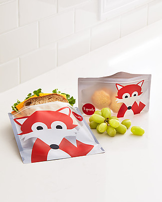3 Sprouts Reusable Sandwich Bag, Grey Fox - 2 Pieces Reusable Pouch