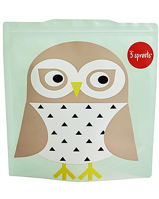 3 Sprouts Reusable Sandwich Bag, Mint Owl - 2 Pieces Reusable Pouch