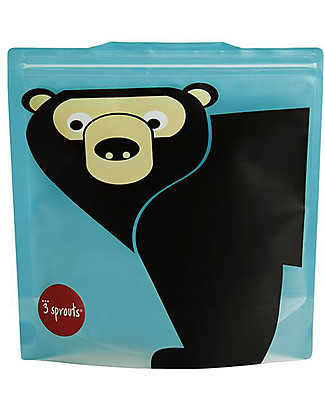3 Sprouts Reusable Sandwich Bag, Teal Bear - 2 Pieces Reusable Pouch