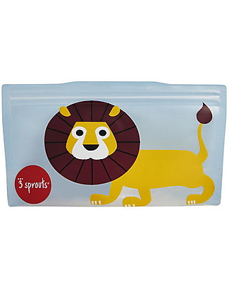 3 Sprouts Reusable Snack Bag, Blue Lion - 2 Pieces Reusable Pouch