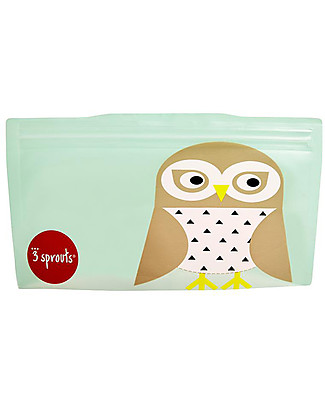 3 Sprouts Reusable Snack Bag, Mint Owl - 2 Pieces Reusable Pouch