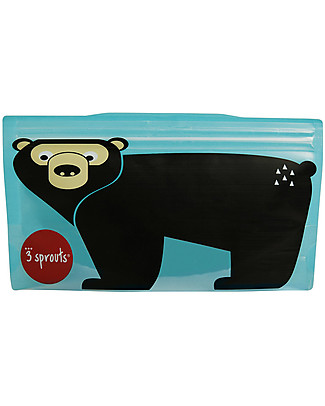 3 Sprouts Reusable Snack Bag, Teal Bear - 2 Pieces Reusable Pouch