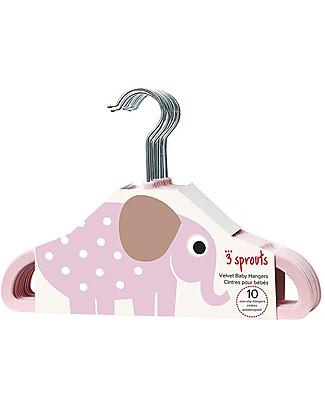 3 Sprouts Set 10 Hangers, Velvet - Elephant Pink Hangers & Hooks