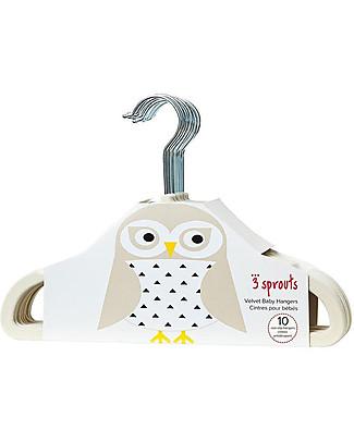 3 Sprouts Set 10 Hangers, Velvet - Owl Ivory Hangers & Hooks