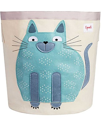 3 Sprouts Storage Bin - Blue Cat - 100% Cotton Toy Storage Boxes
