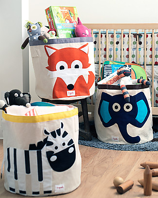 3 Sprouts Storage Bin - Blue Elephant - 100% Cotton Toy Storage Boxes