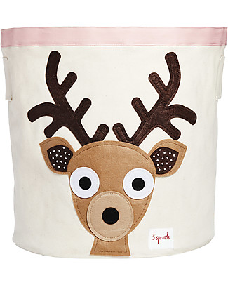 3 Sprouts Storage Bin - Brown Deer - 100% Cotton Toy Storage Boxes