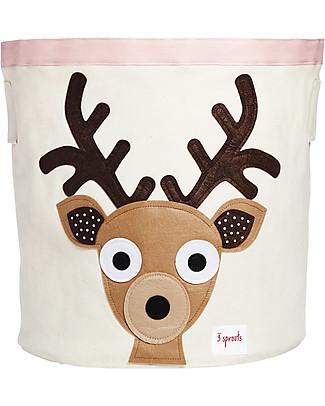 3 Sprouts Storage Bin - Brown Deer - 100% Cotton Toy Storage Boxes