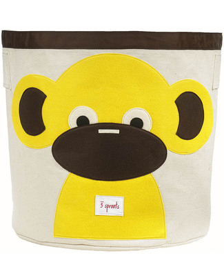 3 Sprouts Storage Bin - Monkey - 100% Cotton Toy Storage Boxes