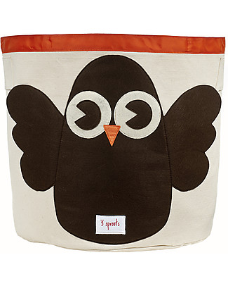 3 Sprouts Storage Bin - Owl - 100% Cotton null