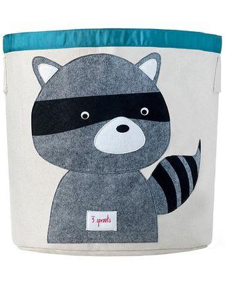 3 Sprouts Storage Bin - Raccoon - 100% Cotton Toy Storage Boxes