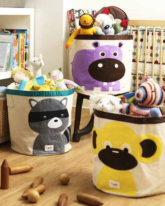 3 Sprouts Storage Bin - Raccoon - 100% Cotton Toy Storage Boxes
