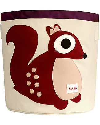 3 Sprouts Storage Bin - Squirrel - 100% Cotton Toy Storage Boxes