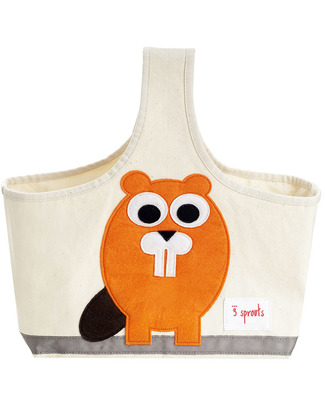 3 Sprouts Storage Caddy - Beaver - Cotton Canvas - Solves Mess! Toy Storage Boxes