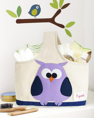 3 Sprouts Storage Caddy - Owl - Cotton Canvas - Solves Mess! Toy Storage Boxes