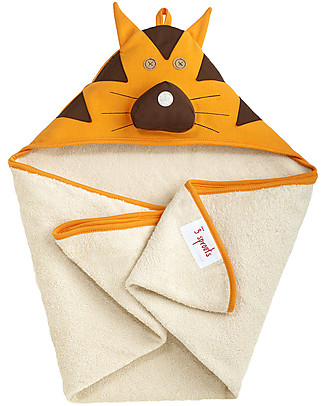 3 Sprouts Tiger Hooded Towel - Spa Grade Natural Cotton Terry Towelling inside! null