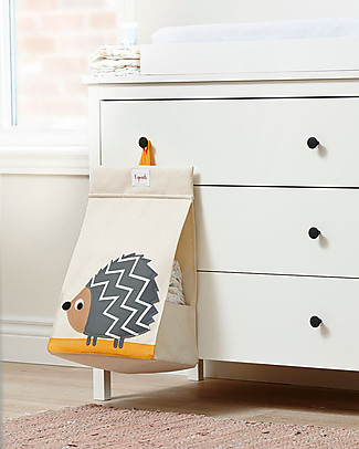 3 Sprouts Universal Diaper Stacker, Grey Hedgehog - Cotton canvas Changing Tables