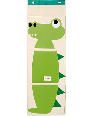 3 Sprouts Wall Organiser with 3 Pockets - Crocodile - Cotton Canvas! Toy Storage Boxes