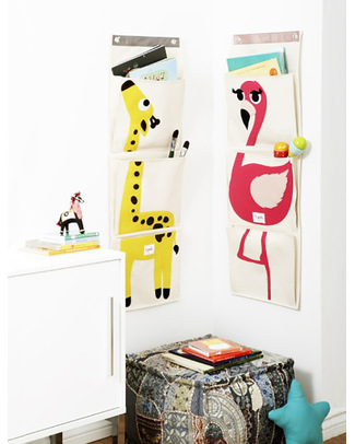 3 Sprouts Wall Organiser with 3 Pockets - Giraffe - Cotton Canvas! Toy Storage Boxes
