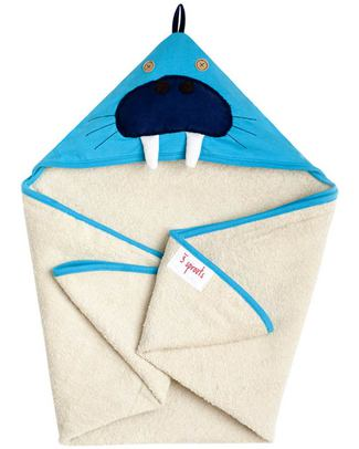 3 Sprouts Walrus Hooded Towel - Spa Grade Natural Cotton Terry Towelling inside! null