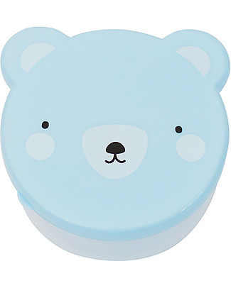 A Little Lovely Company 4 Snack Box, Bear - Blue - BPA and Phthalate Free null