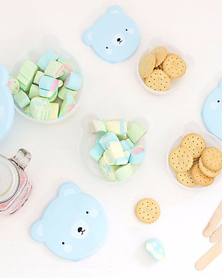 A Little Lovely Company 4 Snack Box, Bear - Blue - BPA and Phthalate Free Snack and Formula Containers