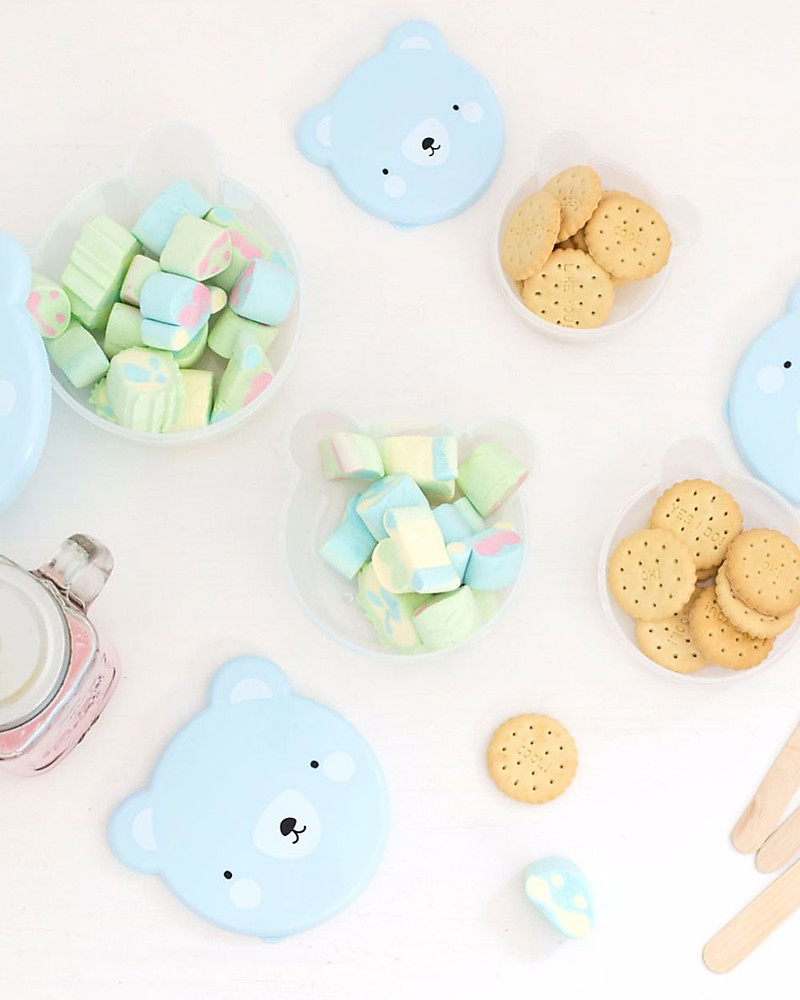 A Little Lovely Company 4 Snack Box, Bear - Blue - BPA and